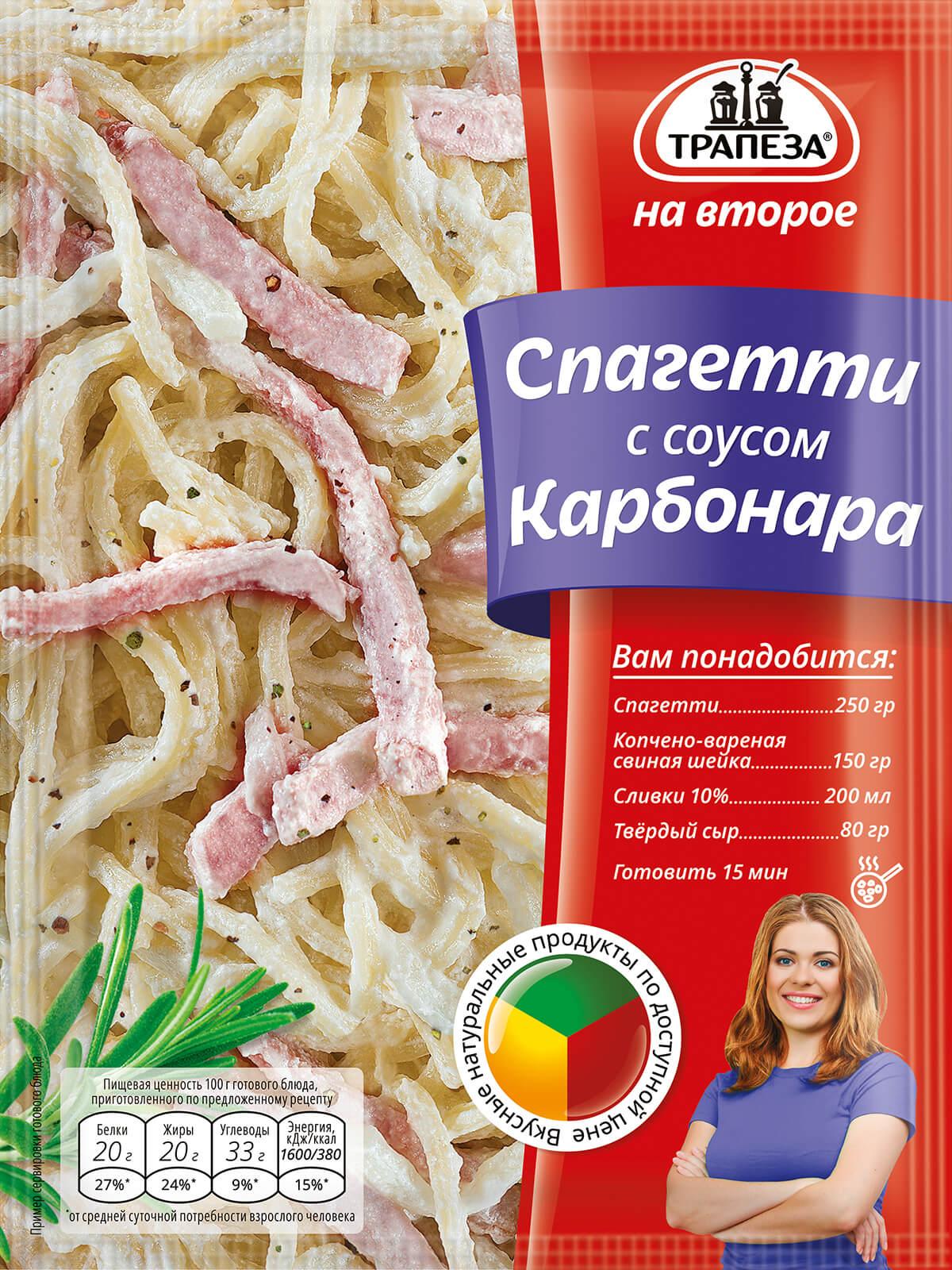 Трапеза на второе смесь для приготовления спагетти с соусом «Карбонара»